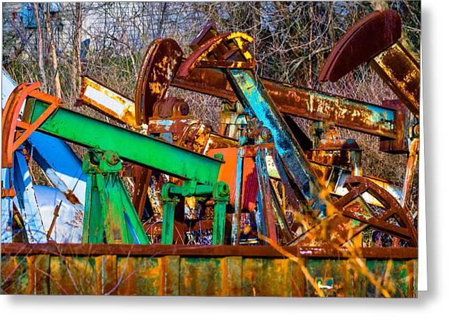 Oil Pumper Photographs Greeting Cards - Rustic Pump Jacks Greeting Card by Brian Stevens