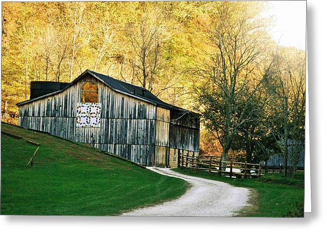 Rustic Quilt Barn Greeting Card by Chastity Hoff