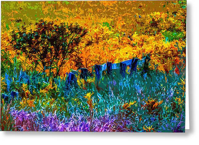 Old Fence Posts Digital Greeting Cards - Rustic Rainbow Greeting Card by Brian Stevens