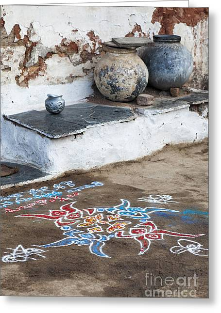 Indian Art Greeting Cards - Rustic Rangoli  Greeting Card by Tim Gainey