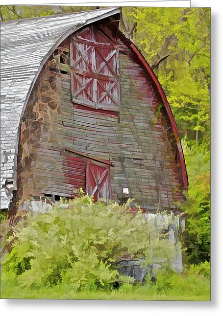 Plowing Field Greeting Cards - Rustic Red Barn II Greeting Card by David Letts