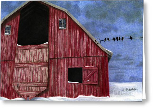 Red Barn In Snow Greeting Cards - Rustic Red Barn In Winter Greeting Card by Sarah Batalka