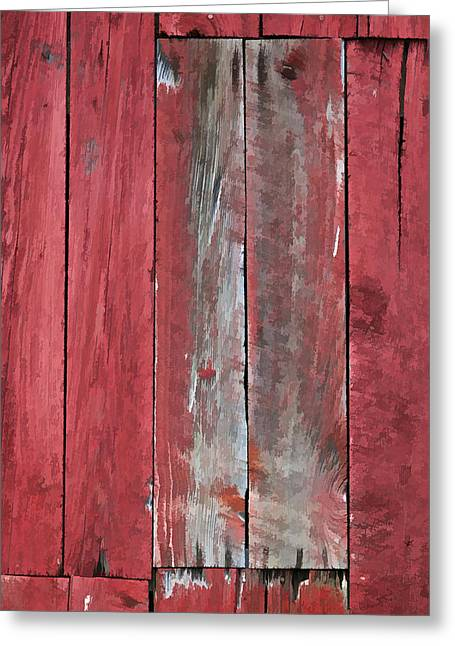 Old Crumbling Barn Greeting Cards - Rustic Red Barn Wall Greeting Card by David Letts
