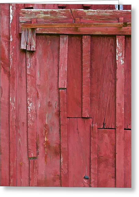 Old Crumbling Barn Greeting Cards - Rustic Red Barn Wall II Greeting Card by David Letts