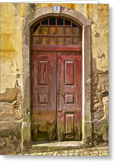 Number 3 Greeting Cards - Rustic Red Wood Door of the Medieval Village of Pombal Greeting Card by David Letts