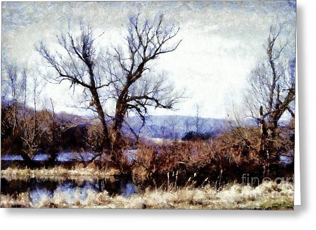 Mountain Digital Art Greeting Cards - Rustic reflections Greeting Card by Janine Riley