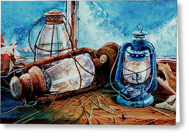 Hurricane Lamp Greeting Cards - Rustic Relics Greeting Card by Hanne Lore Koehler