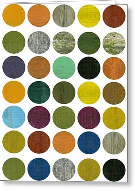 Geometric Image Greeting Cards - Rustic Rounds 75 Number One Greeting Card by Michelle Calkins