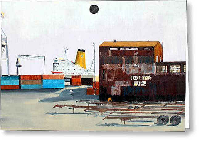 Best Sellers -  - Wooden Ship Greeting Cards - Rustic Schnitzer Steel Building and Ship Greeting Card by Asha Carolyn Young