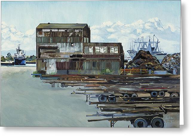 Dilapidated Paintings Greeting Cards - Rustic Schnitzer Steel Building with Trailers at the Port of Oakland  Greeting Card by Asha Carolyn Young