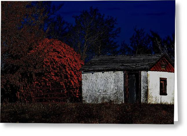 Mo Ranch Greeting Cards - Rustic Shack By The Full Moon Greeting Card by Deena Stoddard