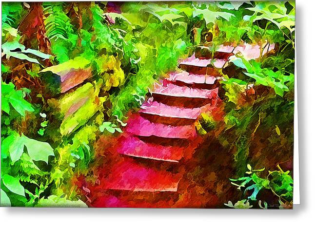 Wooden Stairs Greeting Cards - Rustic Step Path Through Enchanted Woods Greeting Card by Joel Bruce Wallach