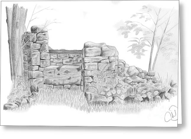 Midi Drawings Greeting Cards - Rustic stone well Greeting Card by Rod Jones