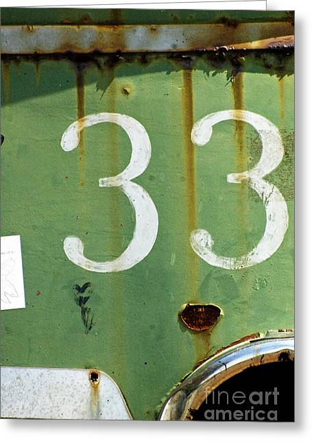 Urbano Greeting Cards - Rustic Urban Sign - Numerology 33 Greeting Card by Anahi DeCanio