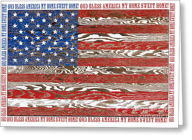God Bless America Greeting Cards - Rustic USA Flag-God Bless-JP2574 Greeting Card by Jean Plout