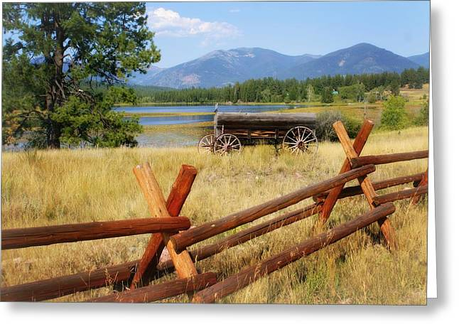 Rustic Wagon Greeting Card by Marty Koch