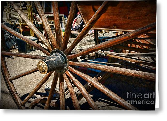 Wooden Wagons Photographs Greeting Cards - Rustic Wagon Wheel Greeting Card by Paul Ward