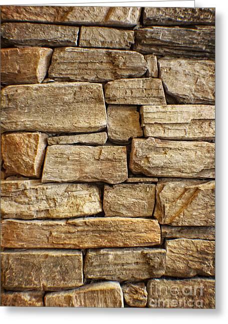 Rustic Warm Stone Wall Art Greeting Card by Ella Kaye Dickey