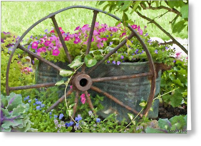 Interior Scene Greeting Cards - Rustic Wheel Digital Artwork Greeting Card by Sandra Foster