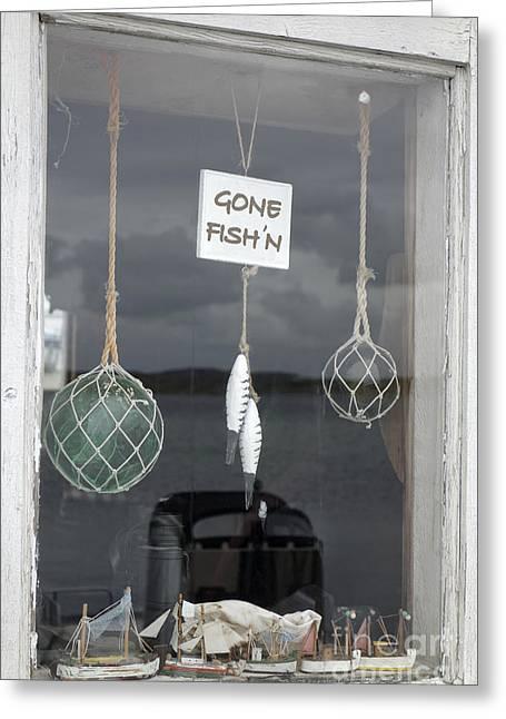 Old Fishing Gear Greeting Cards - Rustic Window 1 Greeting Card by Ladi  Kirn