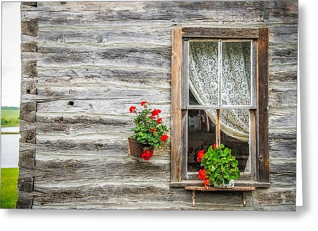 Pioneer Homes Photographs Greeting Cards - Rustic Window Greeting Card by Paul Freidlund