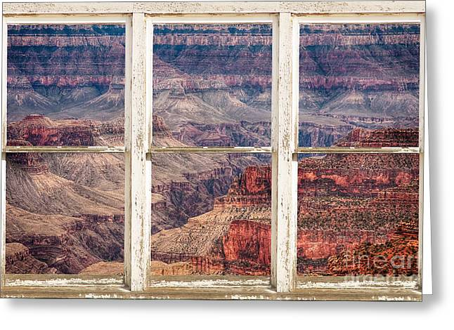 Room With A View Greeting Cards - Rustic Window View Into The Grand Canyon Greeting Card by James BO  Insogna