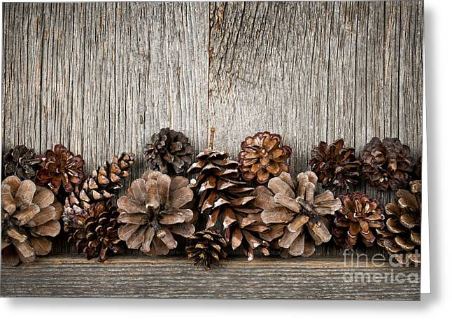 Wood Grain Greeting Cards - Rustic wood with pine cones Greeting Card by Elena Elisseeva