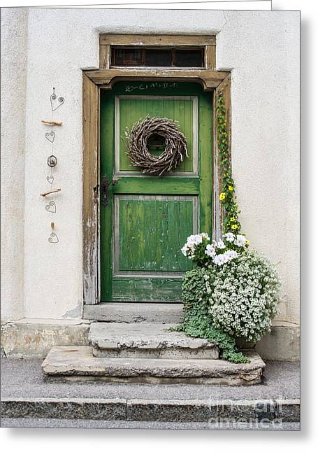 Rustic Wooden Village Door - Austria Greeting Card by Gary Whitton