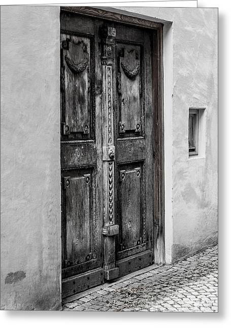 Old Quarter Greeting Cards - Rustic Wooden Village Door - Germany Greeting Card by Gary Whitton