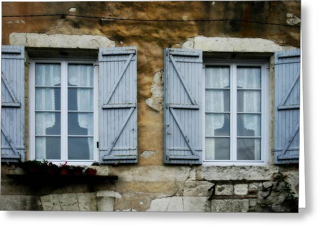 South Of France Greeting Cards - Rustic Wooden Window Shutters Greeting Card by Nomad Art And  Design