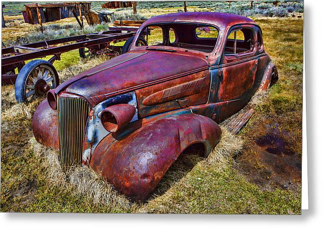 Bodie Greeting Cards - Rusting Away Auto Greeting Card by Garry Gay