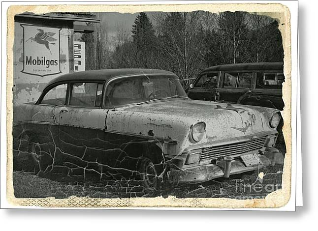 Rusted Cars Mixed Media Greeting Cards - Rusting Away BW 1 Greeting Card by Chalet Roome-Rigdon