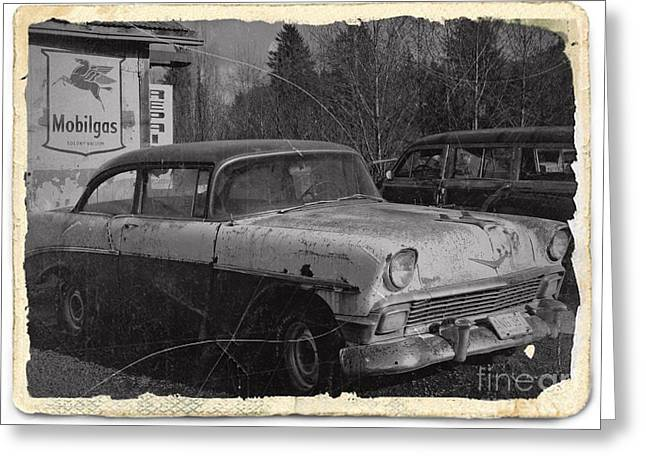 Rusted Cars Mixed Media Greeting Cards - Rusting Away BW 2 Greeting Card by Chalet Roome-Rigdon