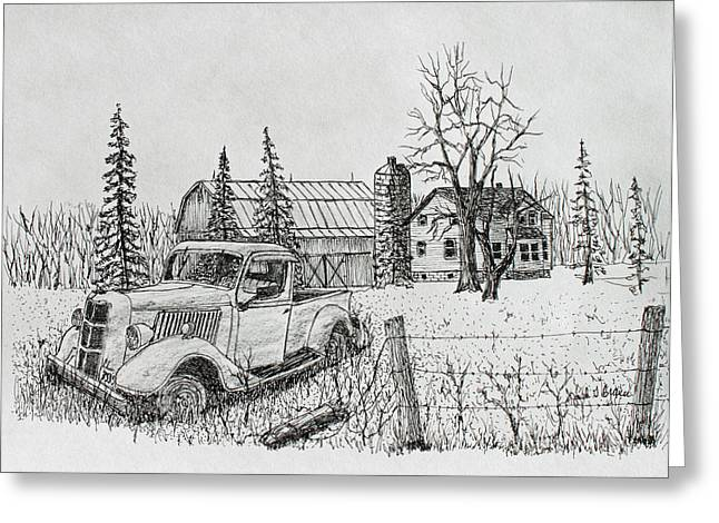 Old Barn Drawing Greeting Cards - Rusting Away Greeting Card by Jack G  Brauer