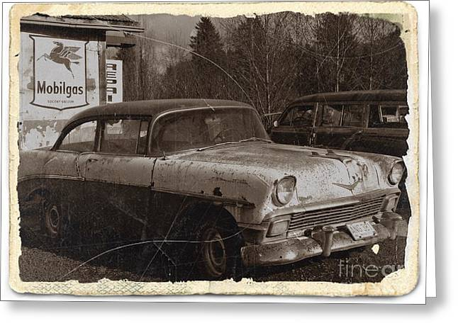 Rusted Cars Mixed Media Greeting Cards - Rusting Away Sepia 2 Greeting Card by Chalet Roome-Rigdon