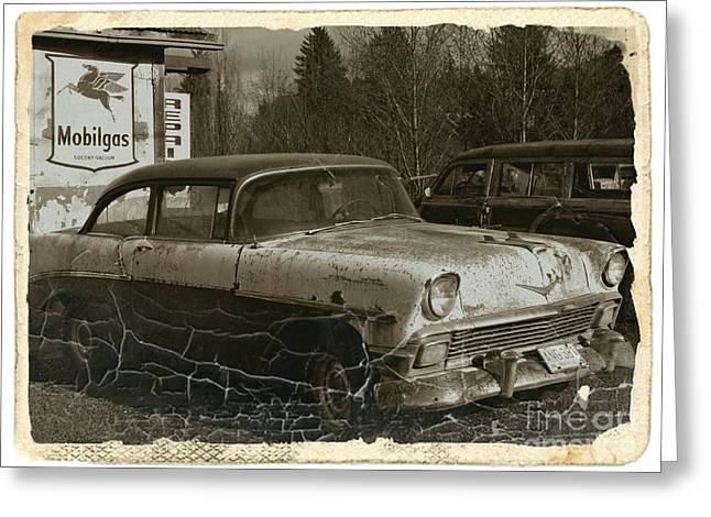 Rusted Cars Mixed Media Greeting Cards - Rusting Away Sepia Greeting Card by Chalet Roome-Rigdon