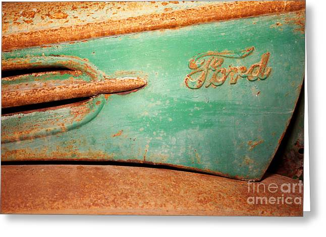 American Automobiles Greeting Cards - Rusting Ford Greeting Card by James Brunker