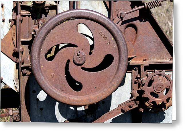 Gear Pyrography Greeting Cards - Rusting Gears Greeting Card by Rebecca Davis