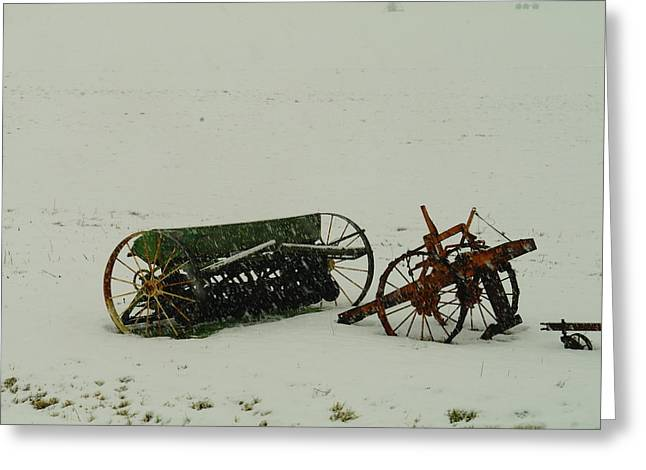 Harvest Time Greeting Cards - Rusting In The Snow Greeting Card by Jeff  Swan
