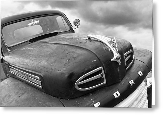 Monochrome Hot Rod Greeting Cards - Rusty 1948 Ford V8 in Black and White Greeting Card by Gill Billington