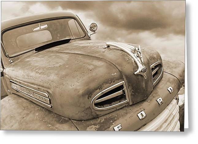 Ford Custom V8 Greeting Cards - Rusty 1948 Ford V8 in Sepia Greeting Card by Gill Billington