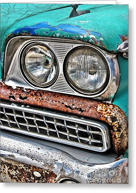 Station Wagon Greeting Cards - Rusty 1959 Ford Station Wagon - front detail Greeting Card by Carlos Alkmin