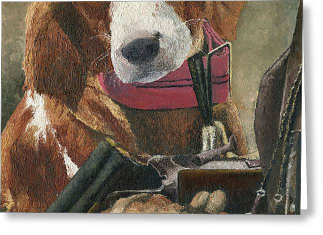 Rusty - A Hunting Dog Greeting Card by Mary Ellen Anderson