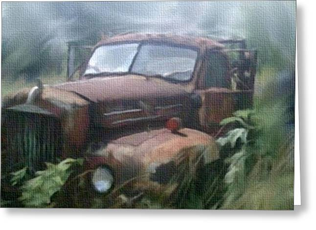 Overgrown Mixed Media Greeting Cards - Rusty Abandoned Mack Farm Truck Greeting Card by Dennis Buckman