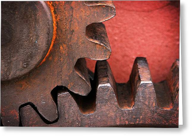Mechanism Greeting Cards - Rusty And Metallic Gear Wheel Greeting Card by Mikel Martinez de Osaba