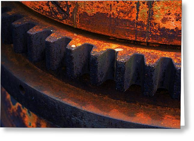 Mechanism Greeting Cards - Rusty And Metallic Gear Wheel Of Old Industry Greeting Card by Mikel Martinez de Osaba