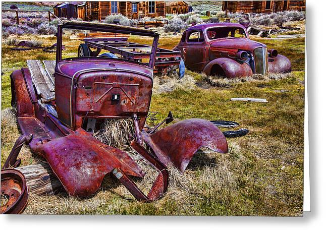Bodie Greeting Cards - Rusty Autos Greeting Card by Garry Gay