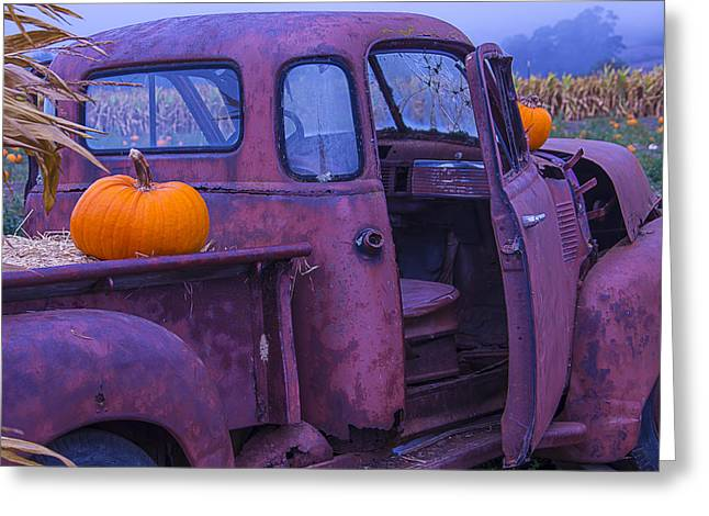Rusty Pickup Truck Greeting Cards - Rusty Autumn Greeting Card by Garry Gay