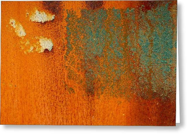 Pealed Greeting Cards - Rusty Blue Abstract Greeting Card by Jean Noren