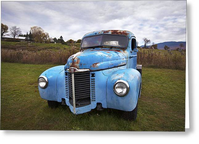 Rusty Pickup Truck Greeting Cards - Rusty Blue Truck Greeting Card by Eric Gendron